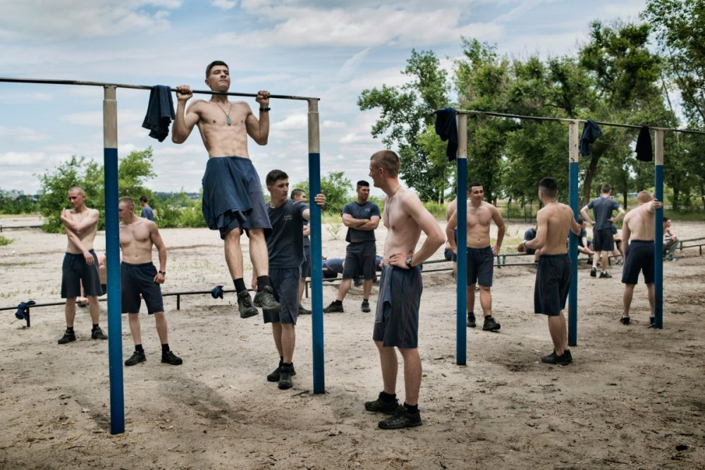 Voronezh Russia  June  2016 Young  men  do morning exercises